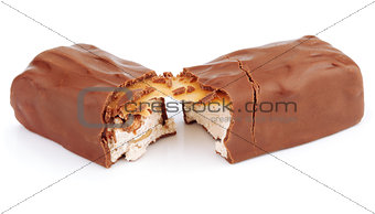 Chocolate bar isolated on white