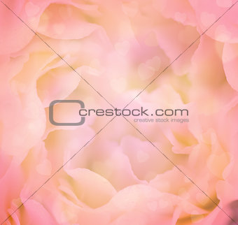 Love Floral Background with Hearts / Flower's petals are made as