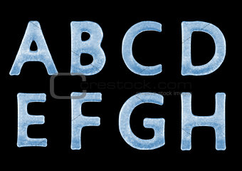 3D Ice Letters Typography Alphabets