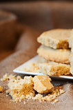 Close up of home baked shortbread biscuit cookies