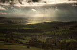 Stunning sun beams over Big Moor in Peak District National Park