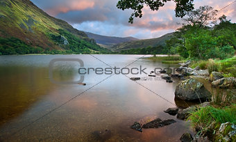 Beautiful sunrise over Llyn Gwynant in Snowdonia National Park
