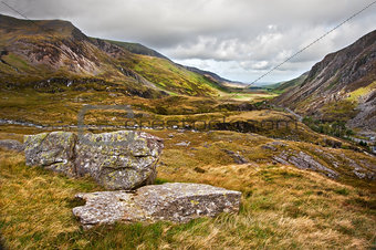 View along Nant Francon valley Snowdonia National Park landscape