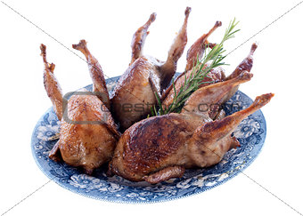 four quails baked