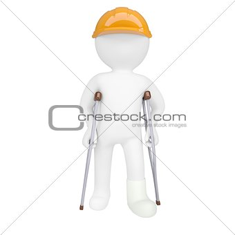 3d white man in a helmet and on crutches