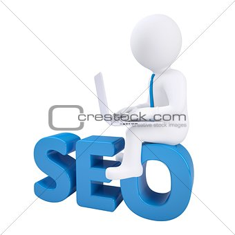 3d man with laptop sitting on SEO