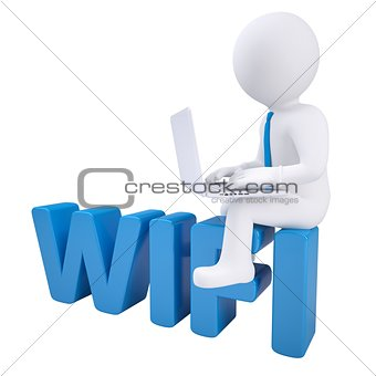 3d man with laptop sitting on the WIFI