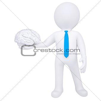 3d man holding a brain