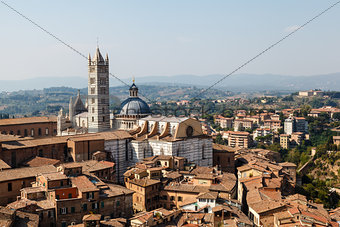 Aerial View on Siena and Santa Maria Cathedral, Tuscany, Italy