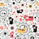 Decorative texture with lovers cats