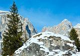 Beautiful winter rocky mountain landscape.
