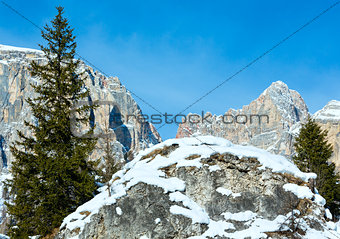 Beautiful winter rocky mountain landscape.