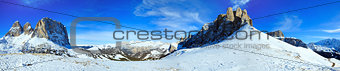 Beautiful winter mountain panorama (Sella Pass , Italy).