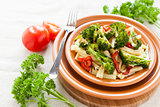 Nutritious Pasta with roasted vegetables broccoli and pepper