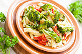 Delicious pasta with pepper and broccoli. Italian food