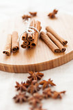 Close up of spices cinnamon and anise for christmas cake
