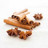 Anise and cinnamon close up