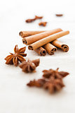 Pile of cinnamon sticks and cloves