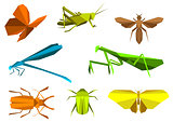 Insects in origami paper elements