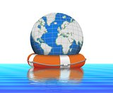 Lifebuoy and earth globe floating in water