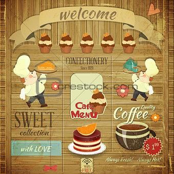 Cafe Confectionery Menu Retro Design