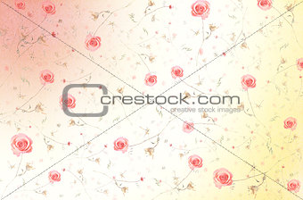 Abstract Elegant Seamless Pattern - Floral Background with Pink Roses