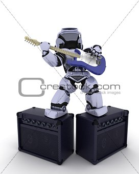 Robot playing the guitar