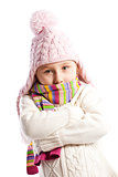 Little girl in warm clothes.