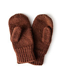 brown knitted mittens