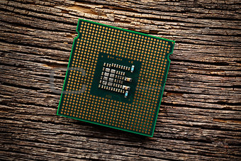 computer processor on old wooden background