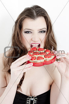 portrait of young woman with Valentine´s chocolate box