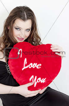 portrait of young woman with Valentine´s present