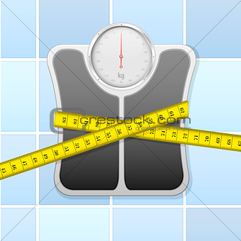 bathroom scale with measure tape