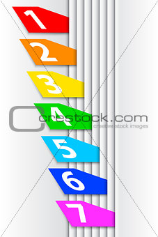 Abstract numbered colorful labels between pages