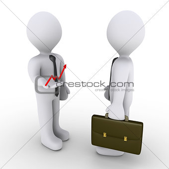 Businessman is showing successful graph to another