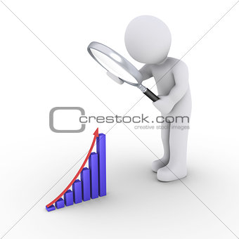 Person with magnifier looking for good results graph