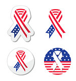 USA ribbon flag - symbol of patriotism, the victims and heros of the 9/11 attacks