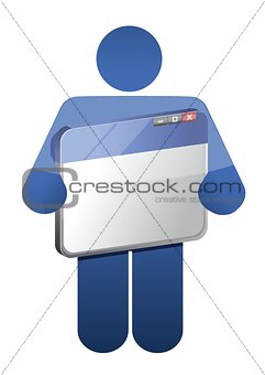 icon holding a browser