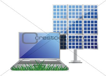 green it concept with laptop and solar cell panel