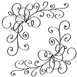 curls braided into a cute heart. vector floral set