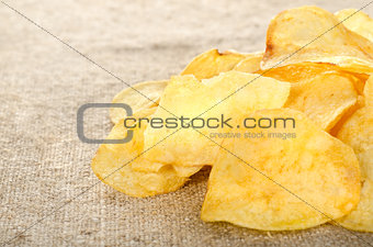 Potato chips on a canvas
