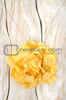 Potato chips on a white table