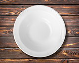 White plate on a table