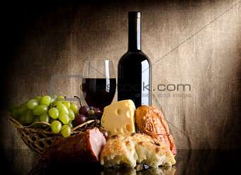 Wine bottle and food