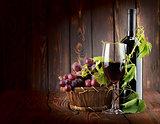 Wine set on wooden background