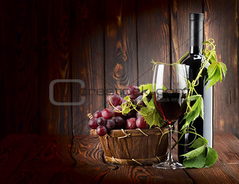 Wine set on wooden background