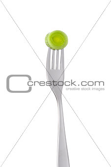 leek on a fork isolated