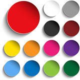 Set of Colorful Paper Circle Sticker Buttons