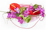 Composition with orchids and florist anthurium