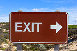 Exit Road Sign With Arrow